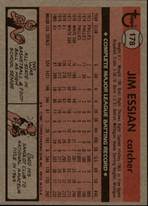 1981 Topps #178 Jim Essian DP back image