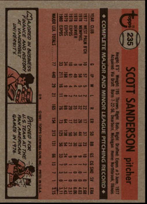 1981 Topps #235 Scott Sanderson back image