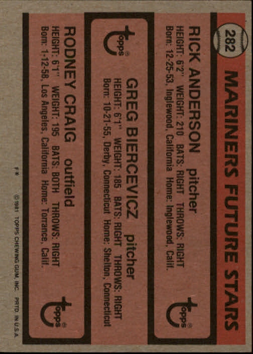 1981 Topps #282 Rick Anderson RC/Greg Biercevicz/Rodney Craig back image