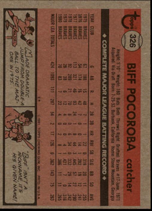 1981 Topps #326 Biff Pocoroba back image