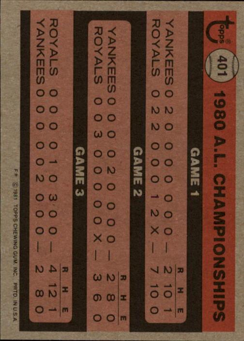 1981 Topps #401 George Brett ALCS back image