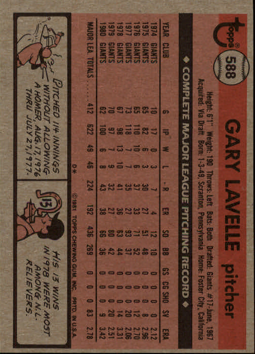 1981 Topps #588 Gary Lavelle back image