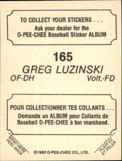 1982 O-Pee-Chee Stickers #165 Greg Luzinski back image