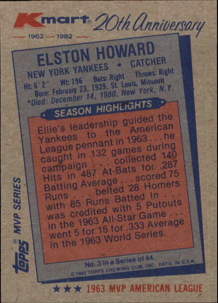 1982 K-Mart #3 Elston Howard: 63AL back image