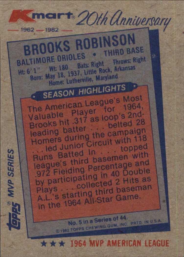 1982 K-Mart #5 Brooks Robinson: 64AL back image