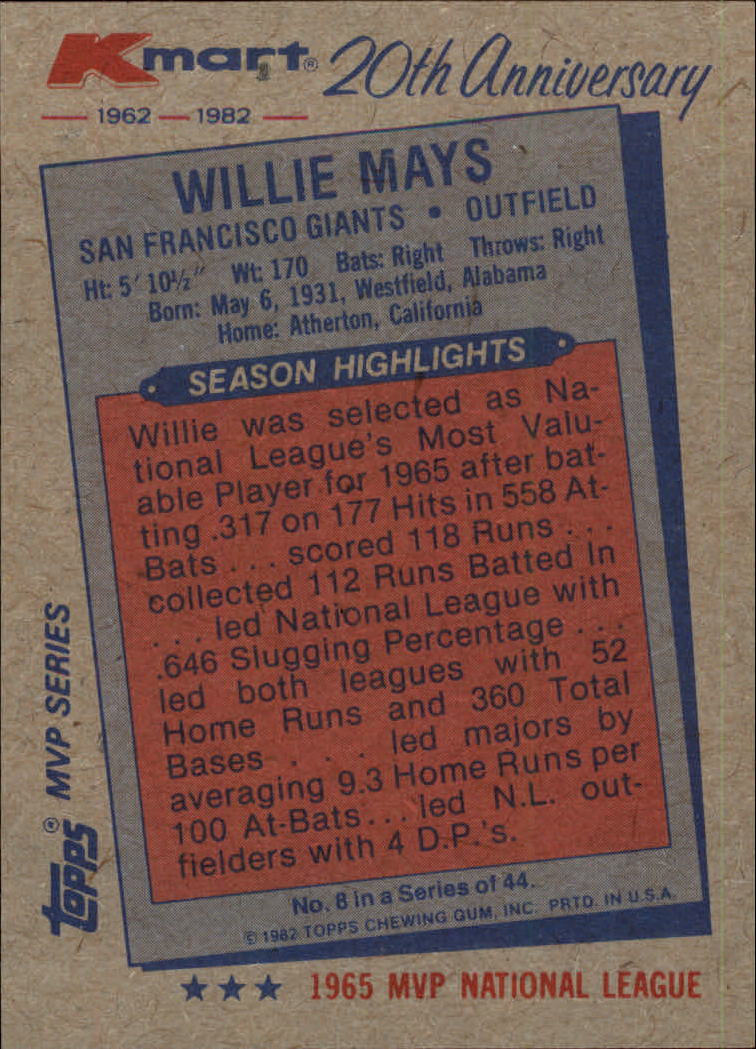 1982 K-Mart #8 Willie Mays: 65NL back image