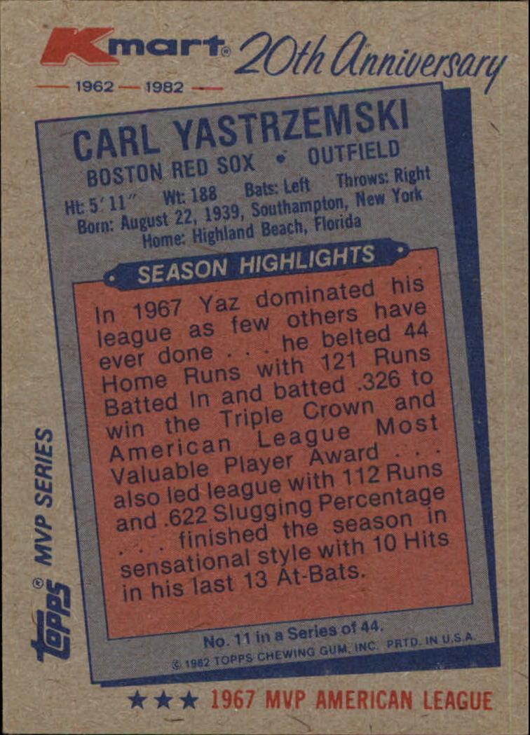 1982 K-Mart #11 Carl Yastrzemski: 67AL back image