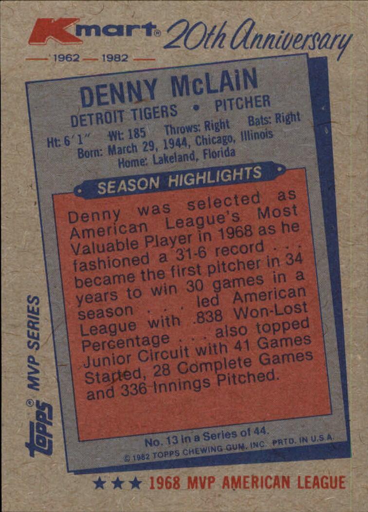 1982 K-Mart #13 Denny McLain: 68AL back image
