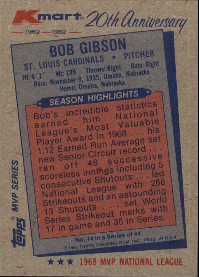 1982 K-Mart #14 Bob Gibson: 68NL back image