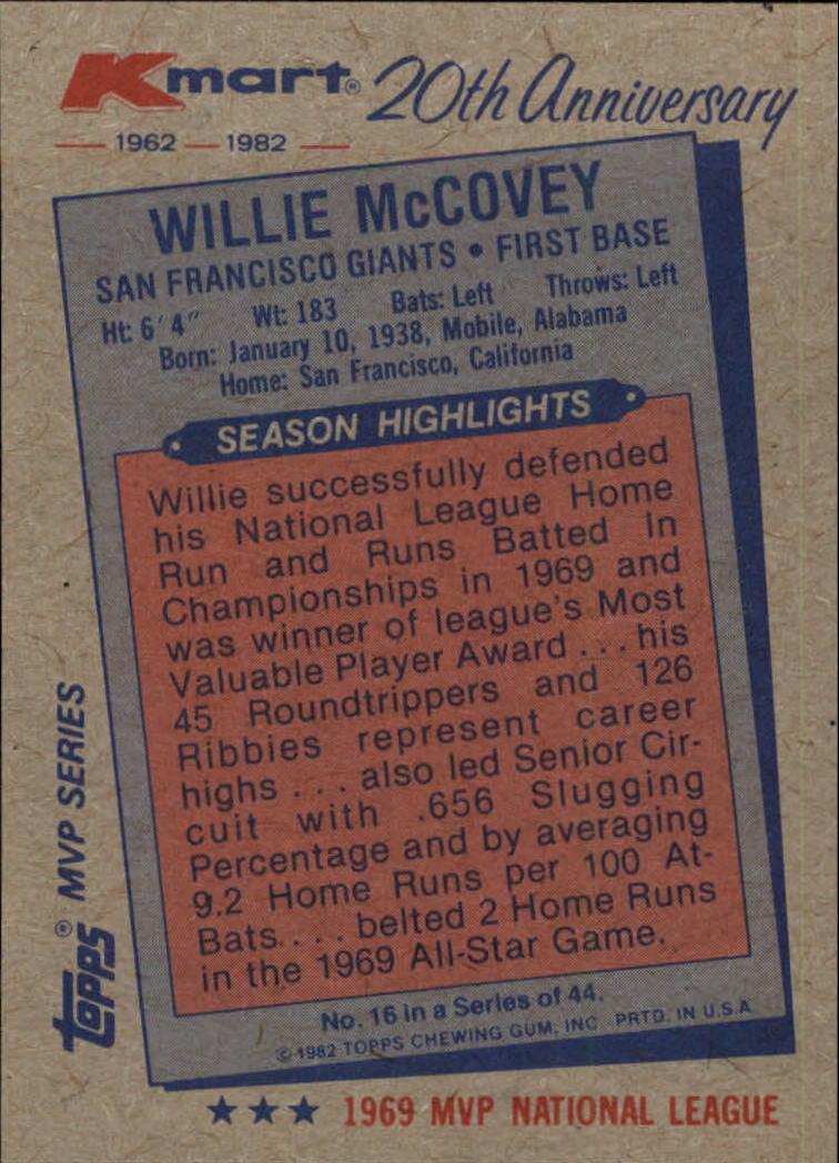 1982 K-Mart #16 Willie McCovey: 69NL back image