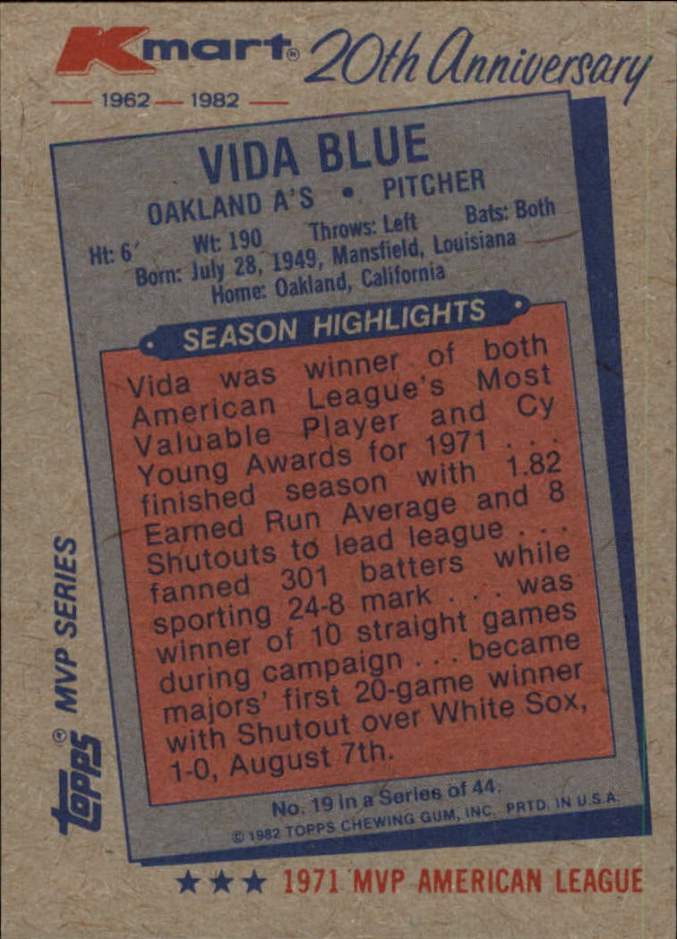 1982 K-Mart #19 Vida Blue: 71AL back image