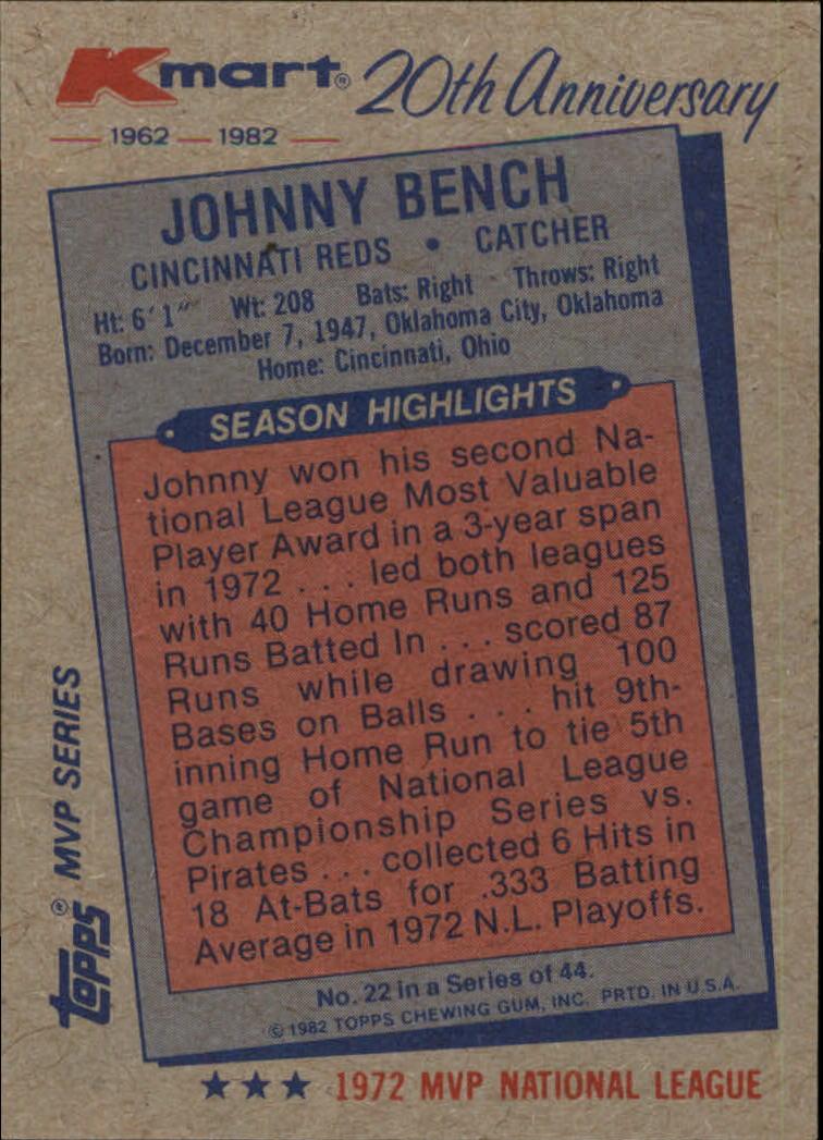 1982 K-Mart #22 Johnny Bench: 72NL back image