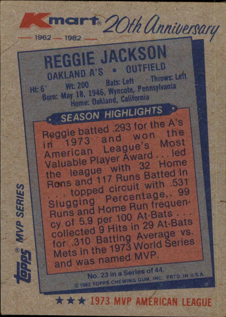 1982 K-Mart #23 Reggie Jackson: 73AL back image