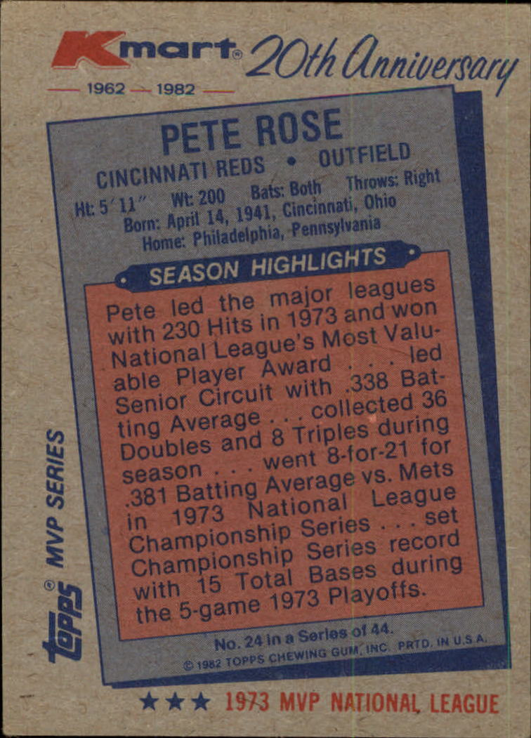 1982 K-Mart #24 Pete Rose: 73NL back image