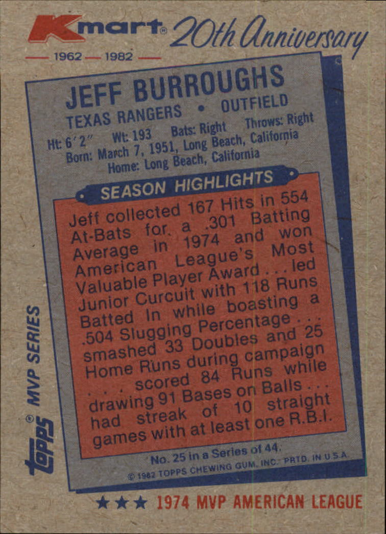 1982 K-Mart #25 Jeff Burroughs: 74AL back image