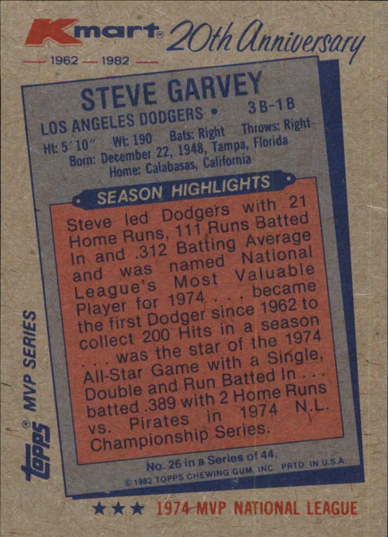1982 K-Mart #26 Steve Garvey: 74NL back image