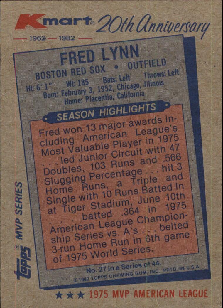 1982 K-Mart #27 Fred Lynn: 75AL back image