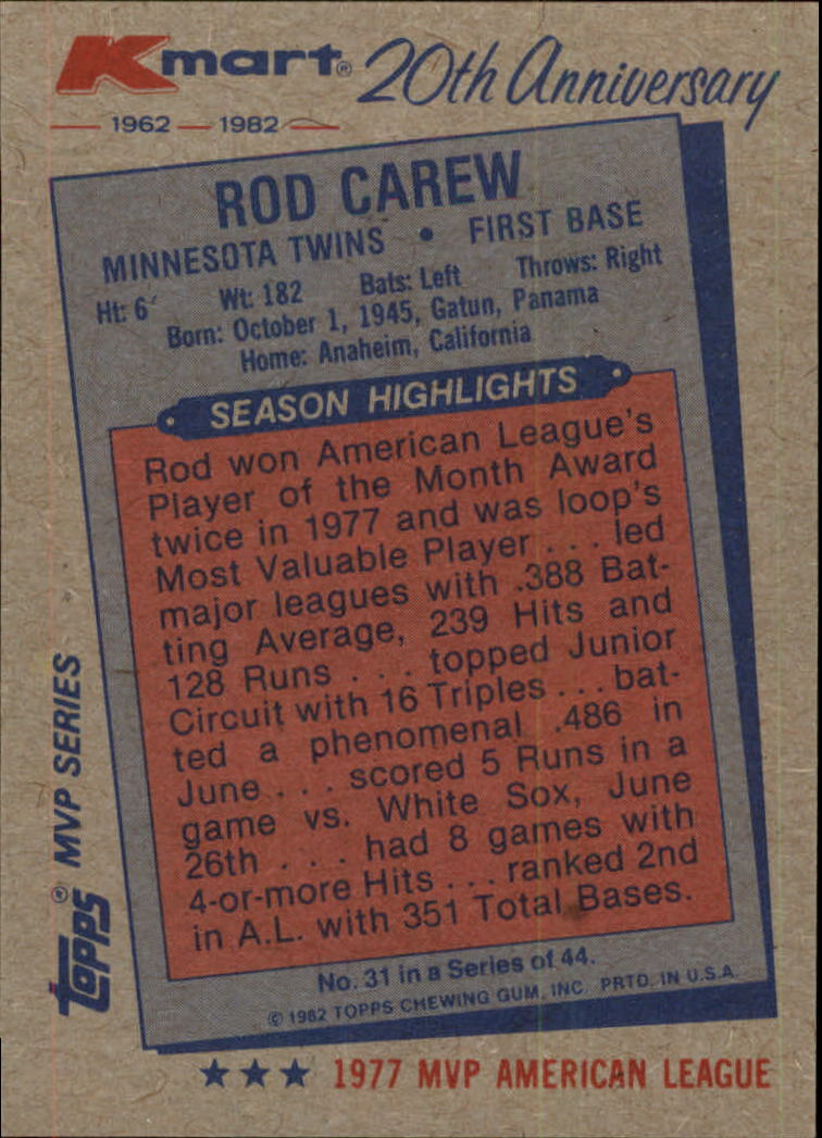 1982 K-Mart #31 Rod Carew: 77AL back image