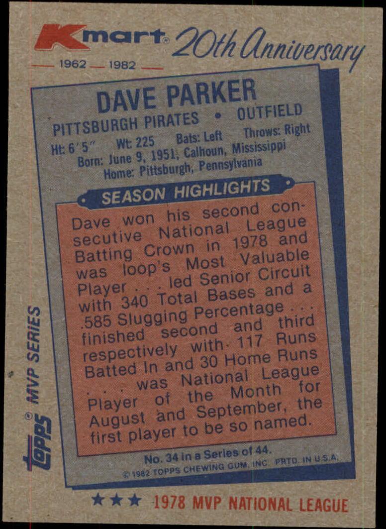 1982 K-Mart #34 Dave Parker: 78NL back image
