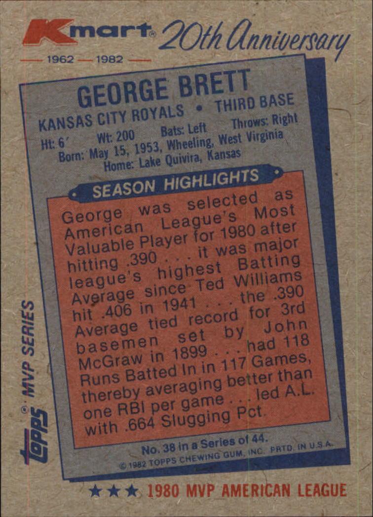 1982 K-Mart #38 George Brett: 80AL back image