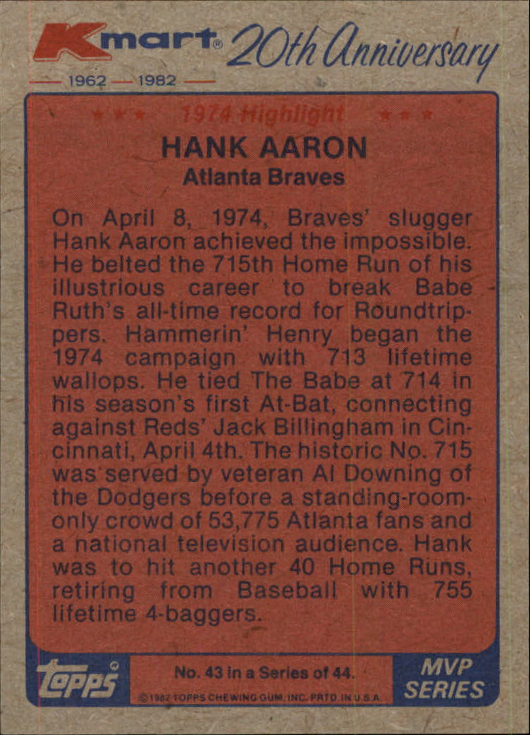 1982 K-Mart #43 Hank Aaron '74 HL/(Home run record) back image