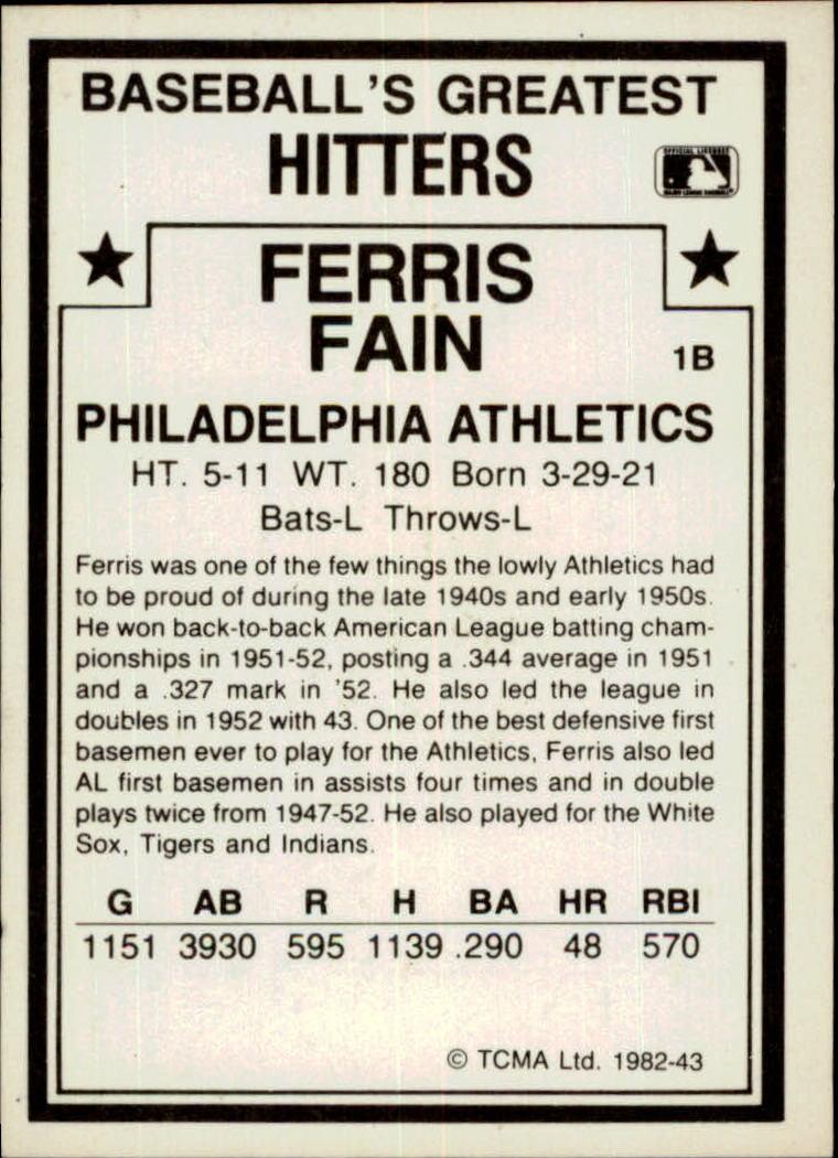 1982 TCMA Greatest Hitters #43 Ferris Fain back image