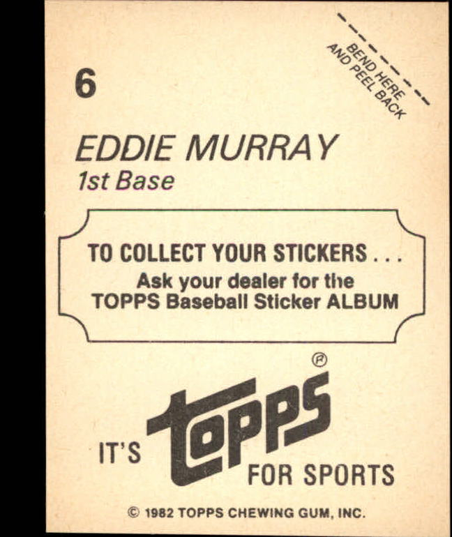 1982 Topps Stickers #6 Eddie Murray LL back image