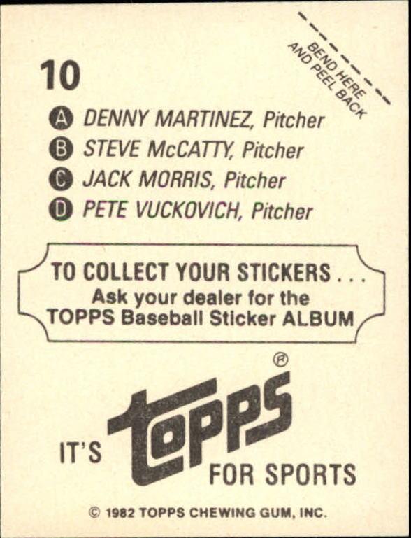 1982 Topps Stickers #10 AL Wins Leaders/Steve McCatty/Dennis Martinez/P back image