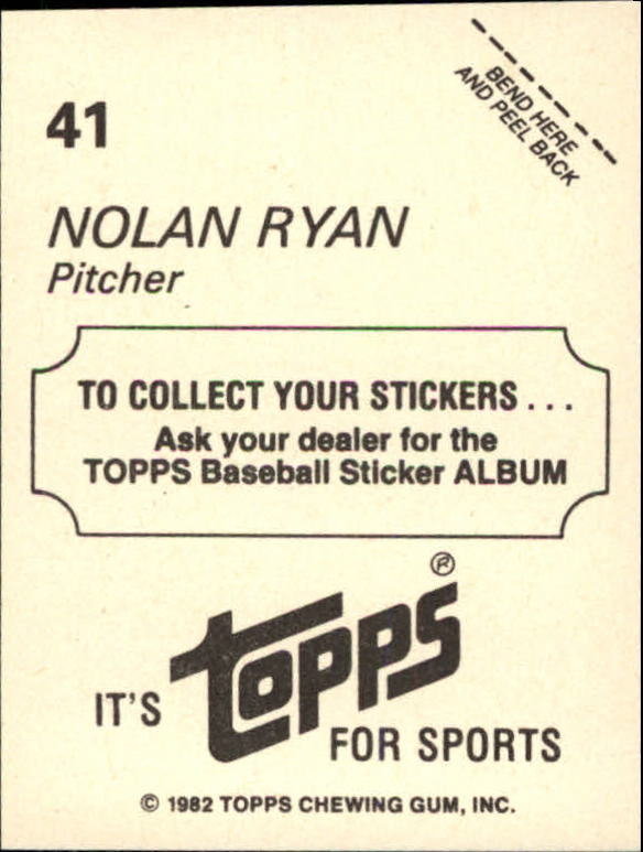 1982 Topps Stickers #41 Nolan Ryan back image