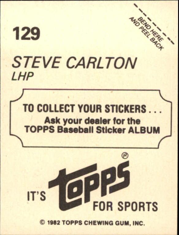 1982 Topps Stickers #129 Steve Carlton FOIL back image