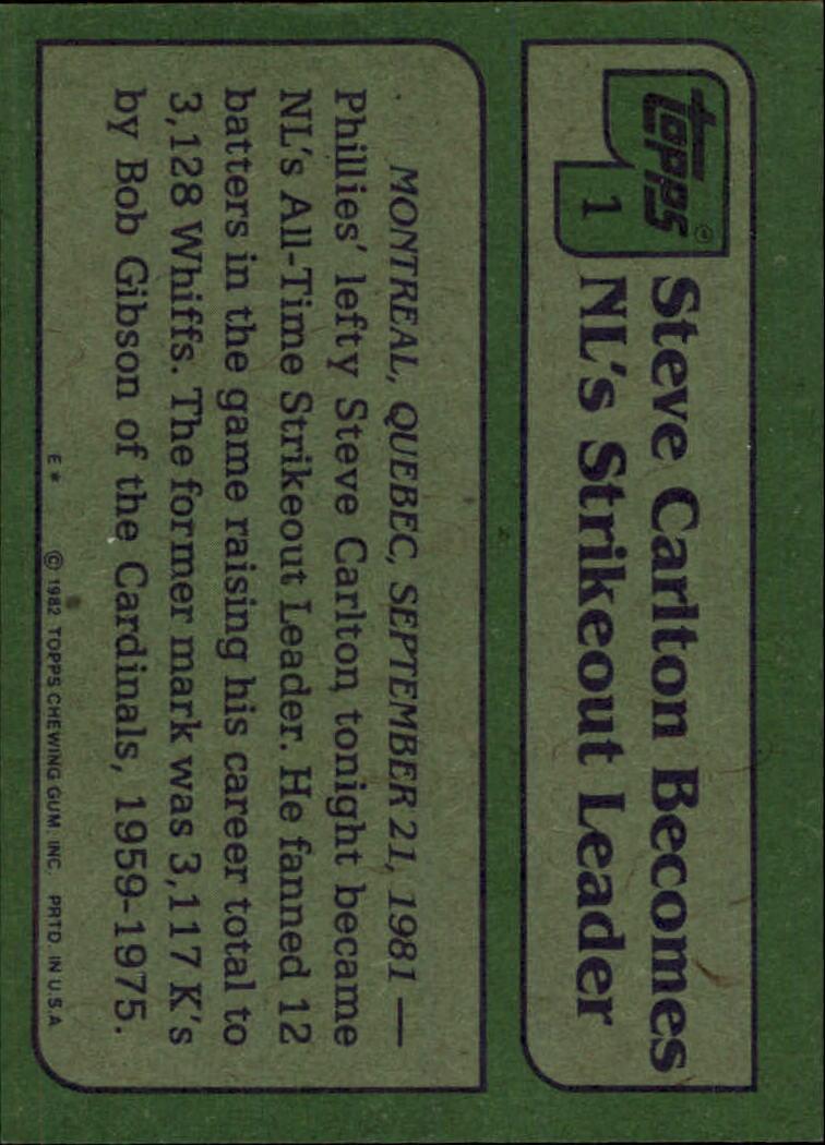 1982 Topps #1 Steve Carlton HL back image