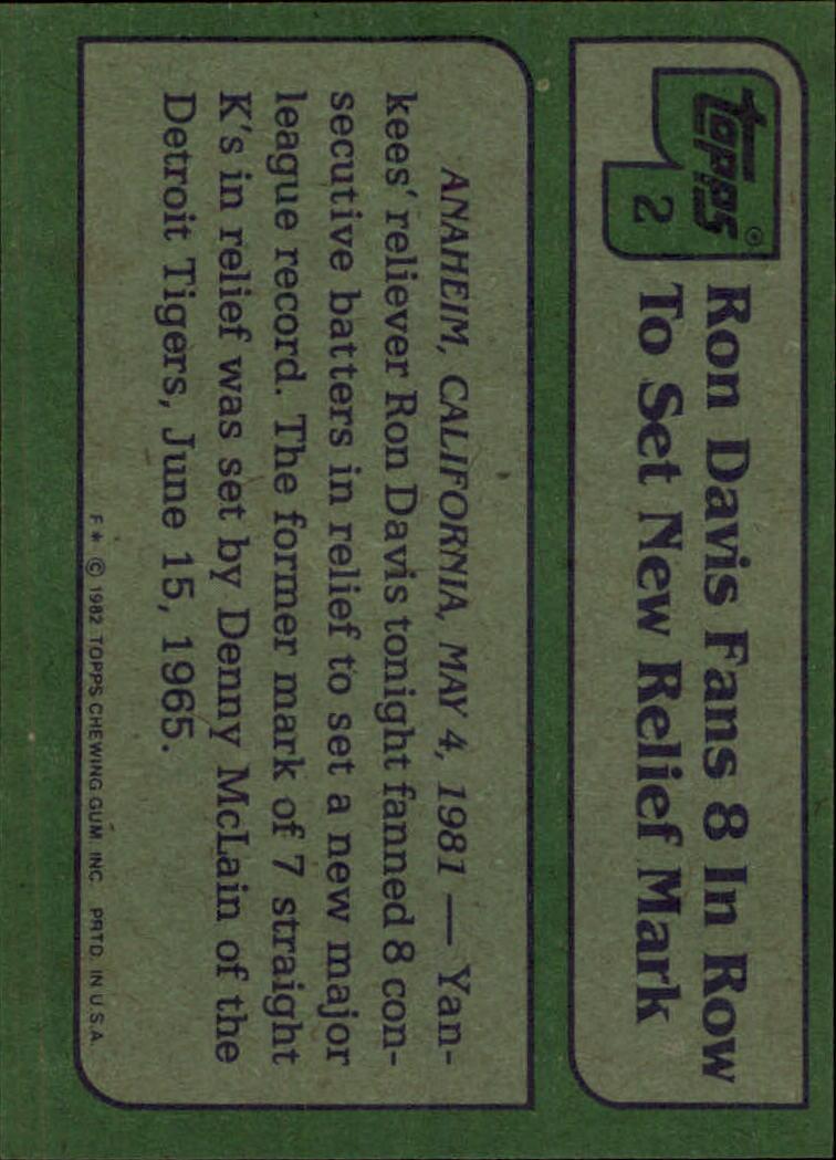1982 Topps #2 Ron Davis HL back image