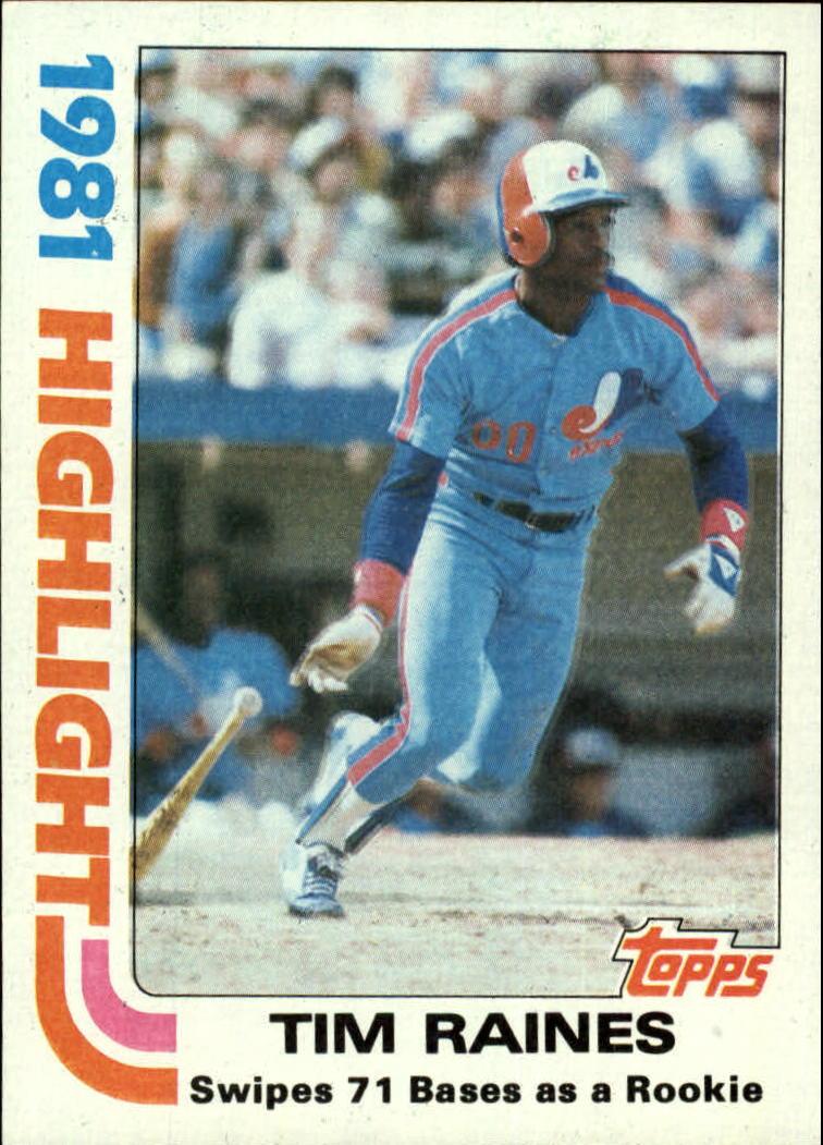1982 Topps #3 Tim Raines HL