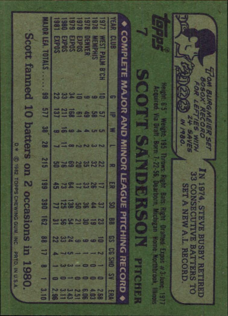 1982 Topps #7 Scott Sanderson back image