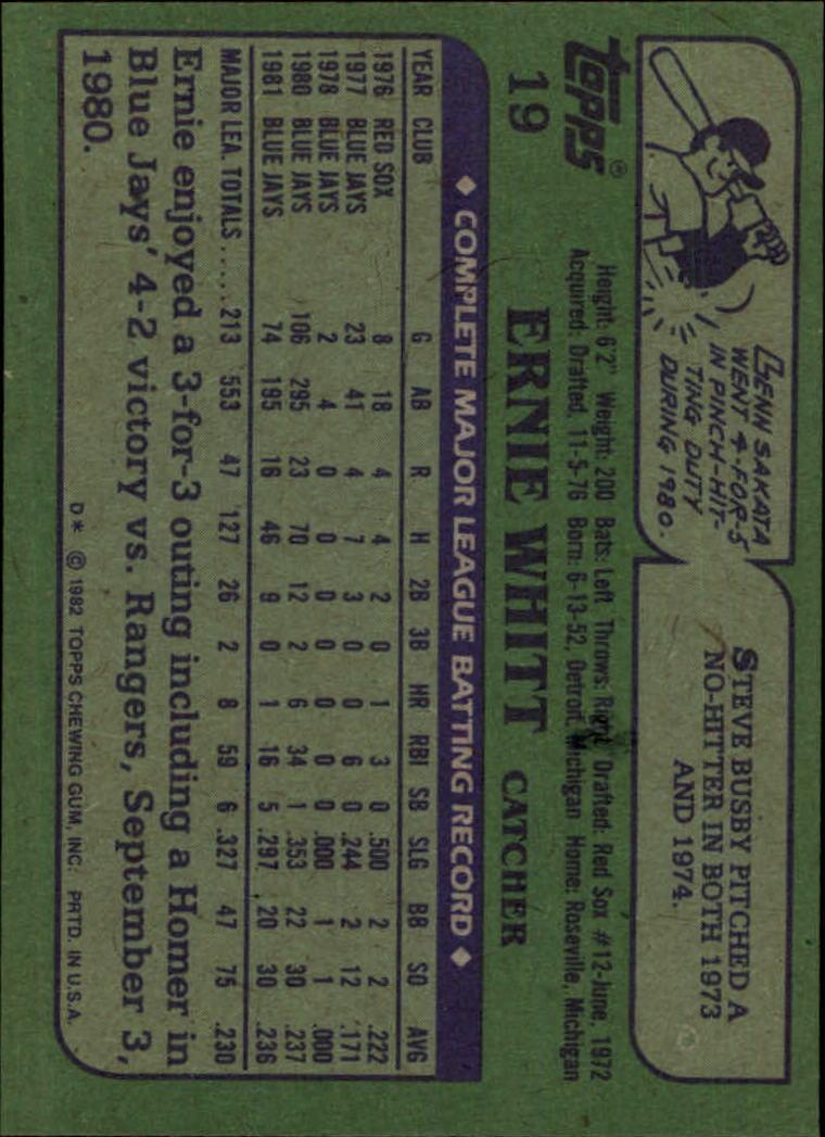 1982 Topps #19 Ernie Whitt back image