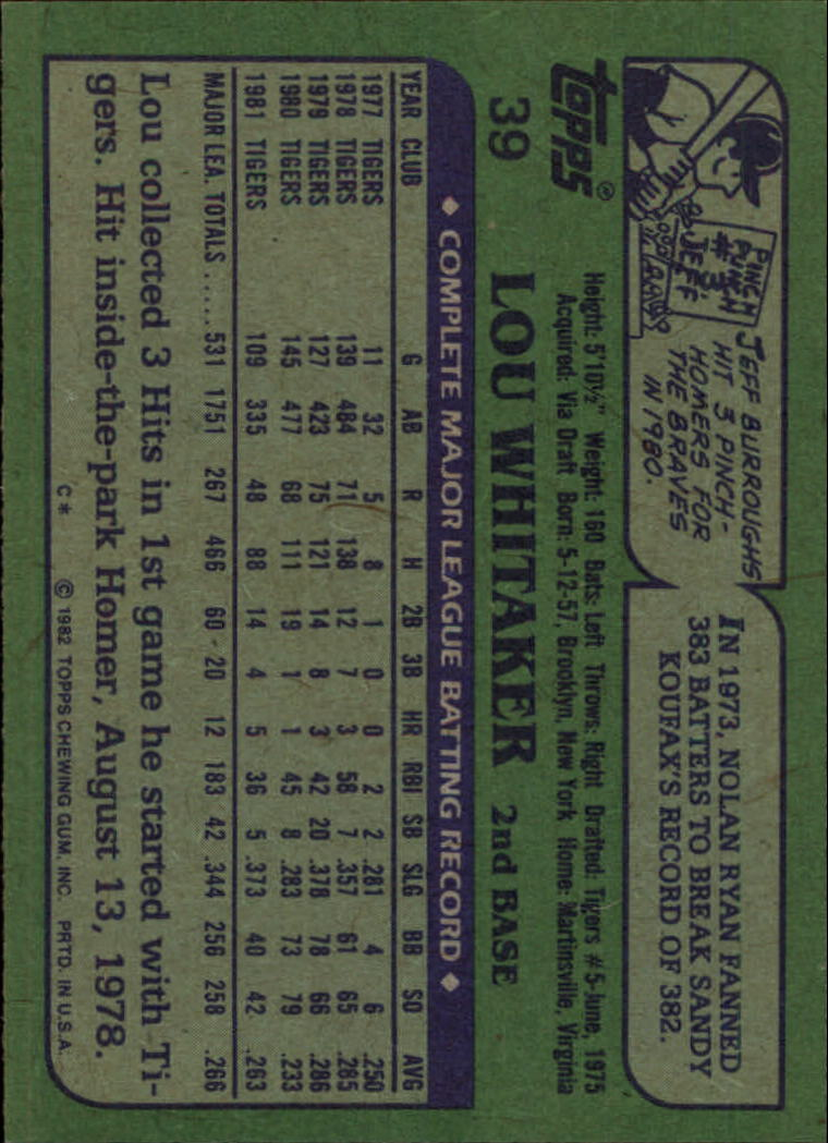 1982 Topps #39 Lou Whitaker back image