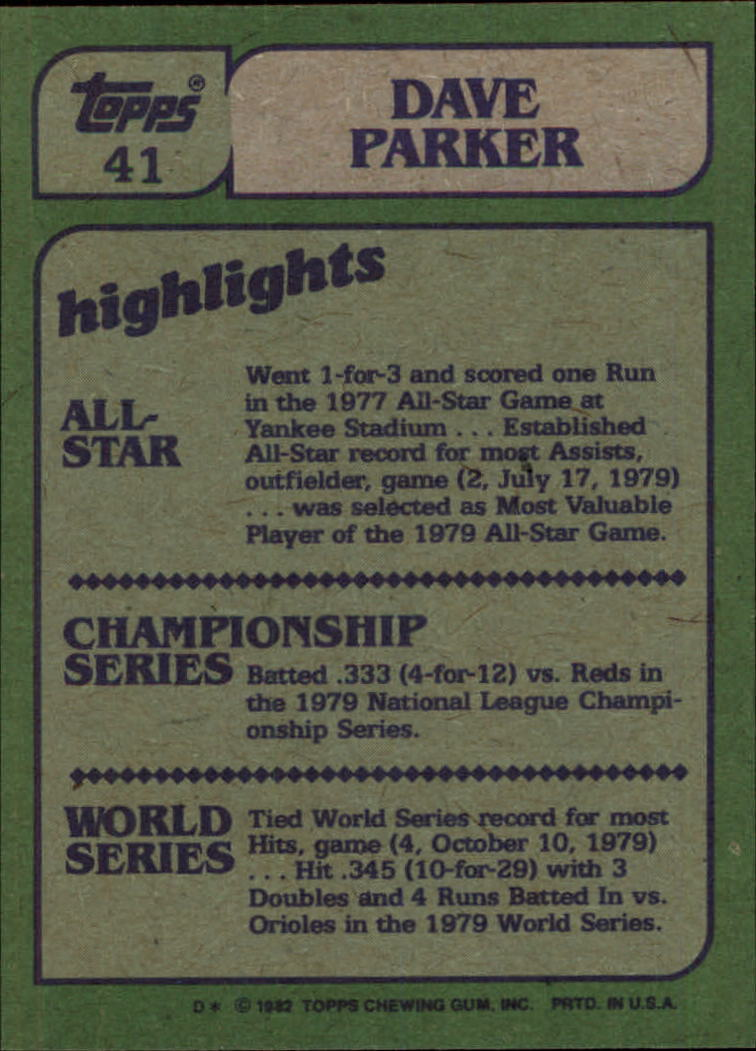 1982 Topps #41 Dave Parker IA back image