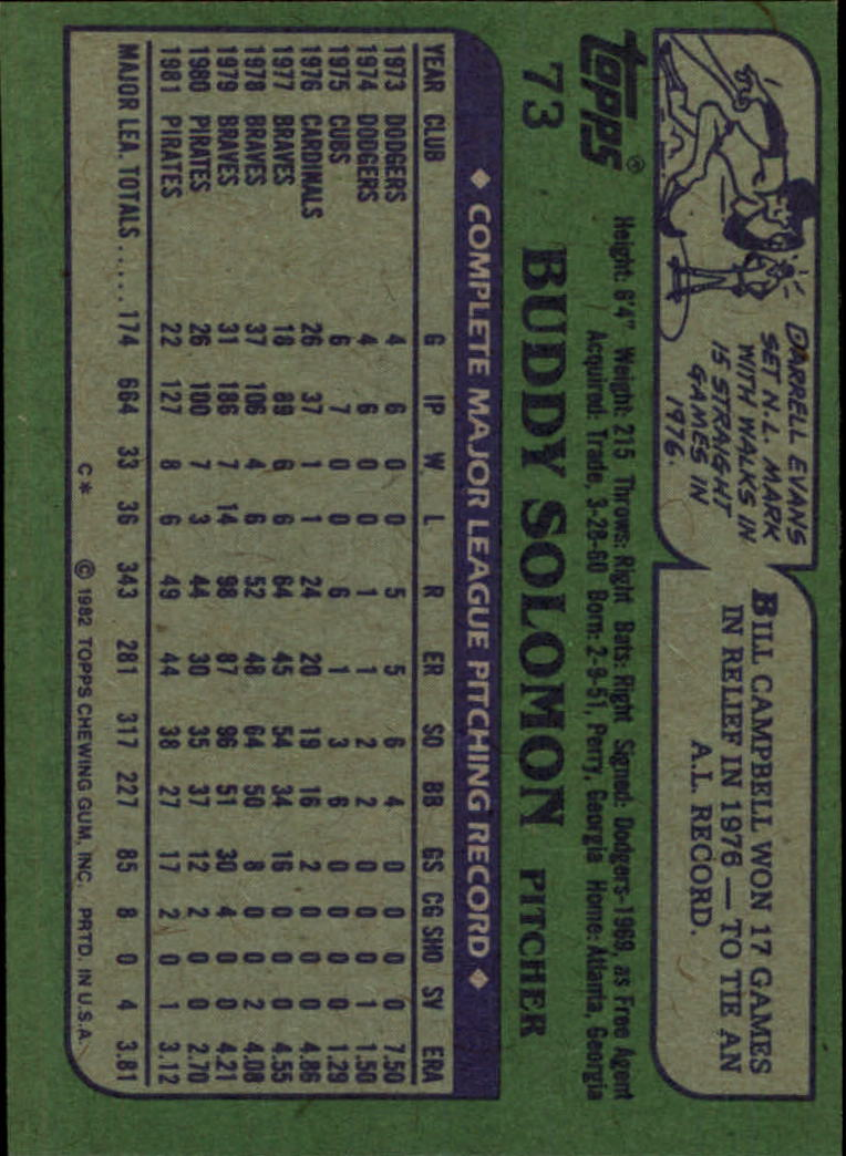 1982 Topps #73 Buddy Solomon back image