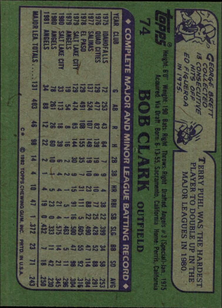 1982 Topps #74 Bob Clark back image