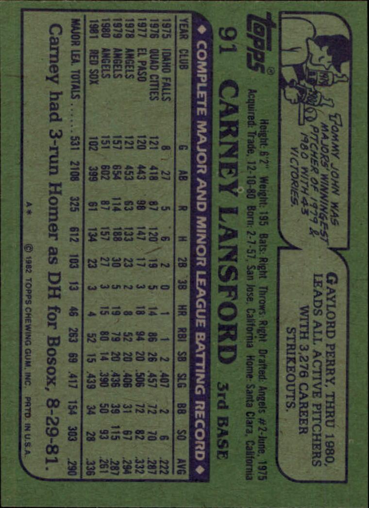 1982 Topps #91 Carney Lansford back image