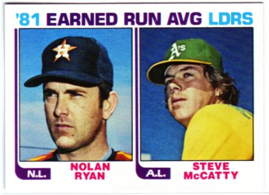 1982 Topps #167 Nolan Ryan/Steve McCatty LL