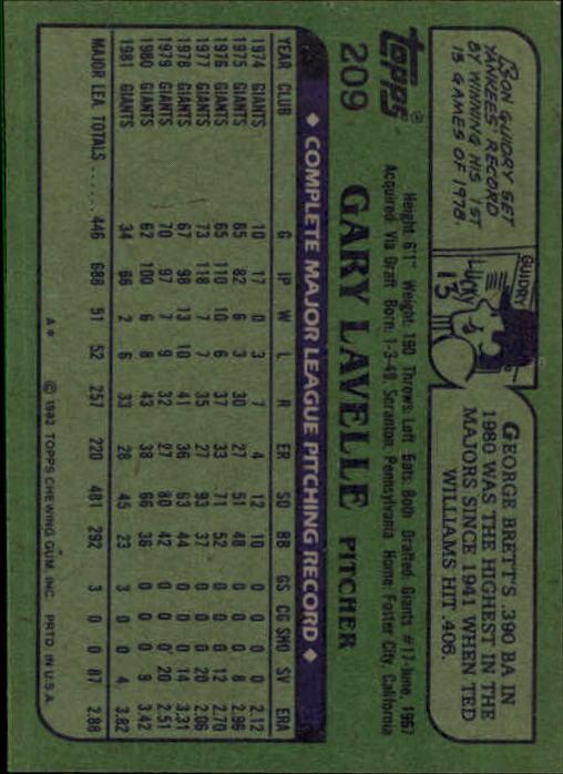 1982 Topps #209 Gary Lavelle back image