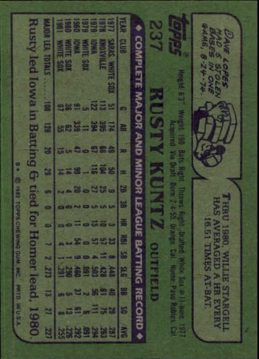 1982 Topps #237 Rusty Kuntz back image