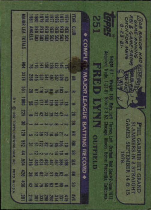 1982 Topps #251 Fred Lynn back image