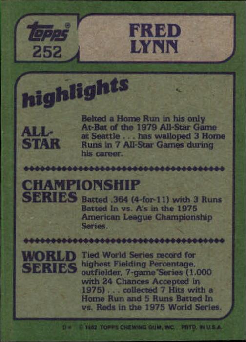 1982 Topps #252 Fred Lynn IA back image