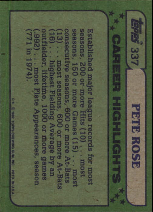 1982 Topps #337 Pete Rose AS back image