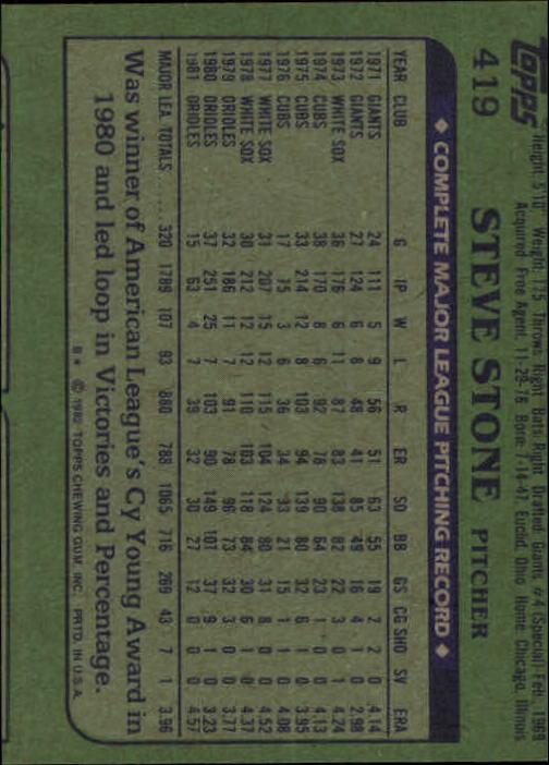 1982 Topps #419 Steve Stone back image
