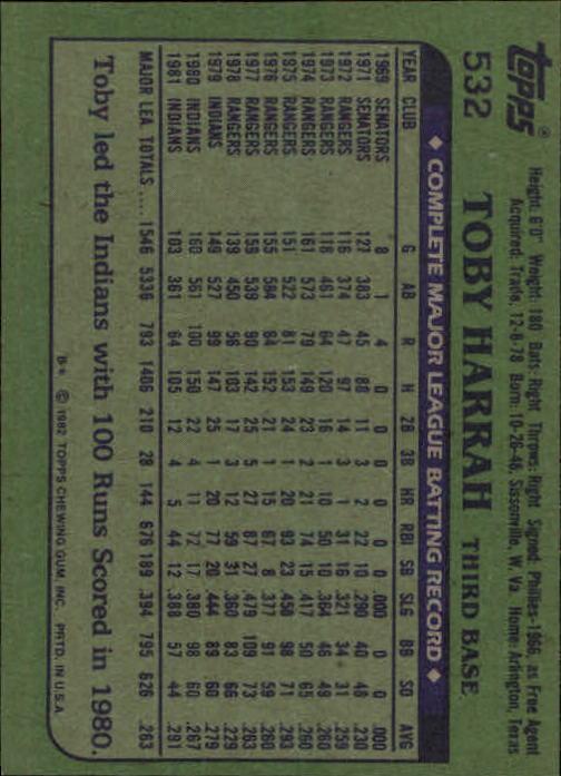 1982 Topps #532 Toby Harrah back image