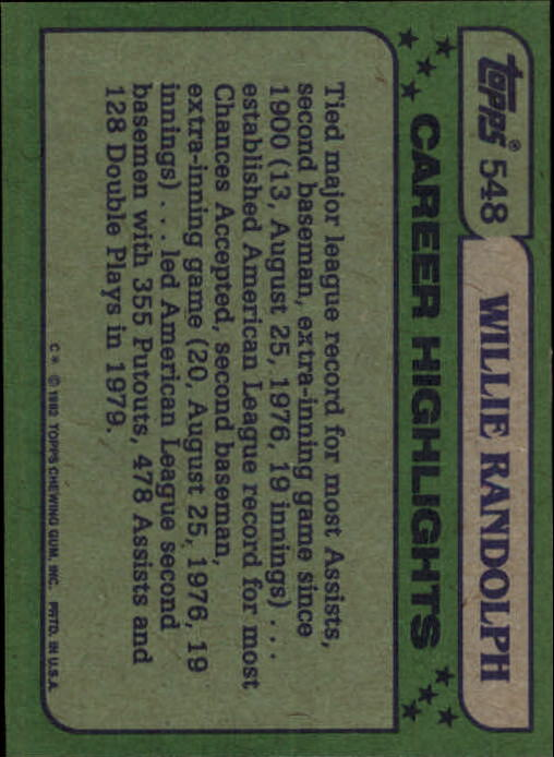 1982 Topps #548 Willie Randolph AS back image