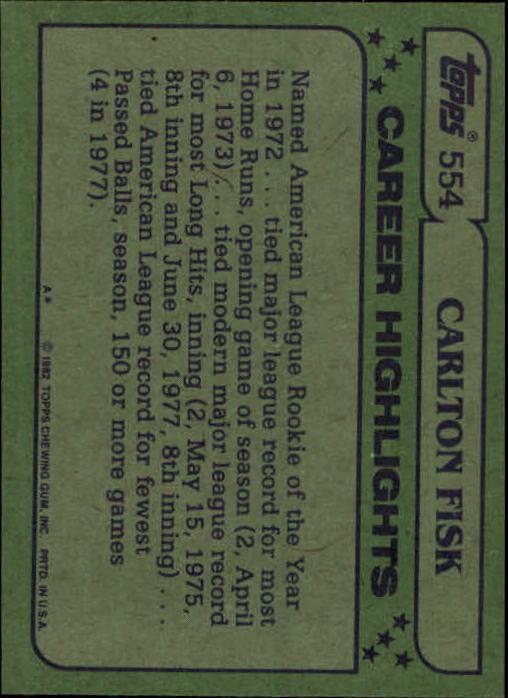 1982 Topps #554 Carlton Fisk AS back image